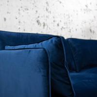 3-zits industriële hoekbank velvet blauw Peppin links