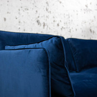 3-zits industriële hoekbank velvet blauw Peppin rechts
