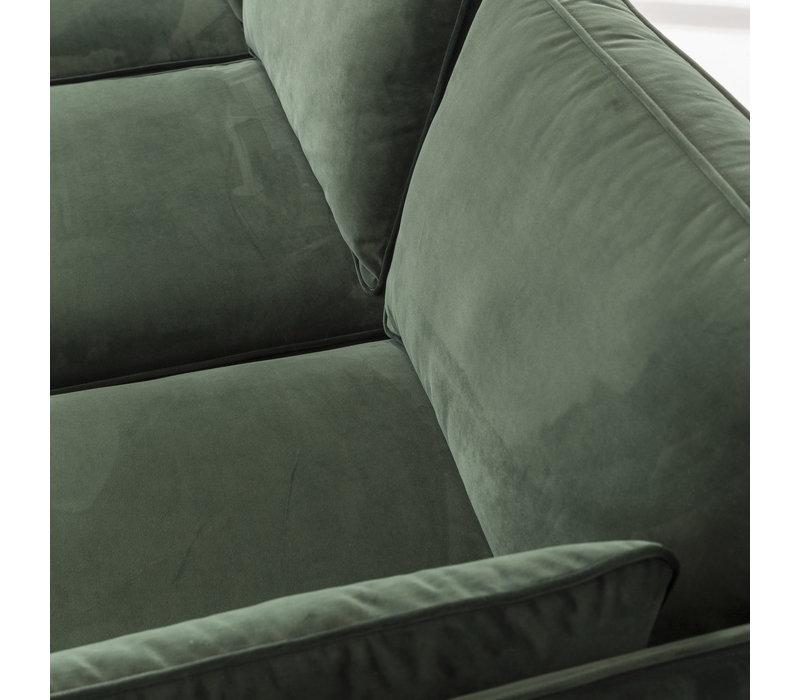 3-zits Industriële hoekbank velvet groen Peppin links
