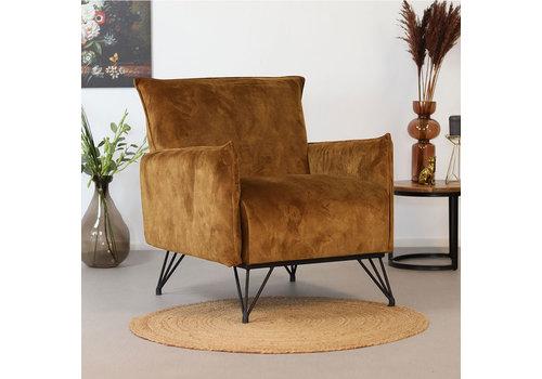 Moderne fauteuil Mika luxery oker geel velvet