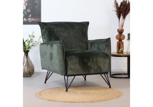 Moderne fauteuil Mika luxery groen velvet