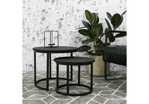 Industriële salontafel set van 2 Rosa zwart