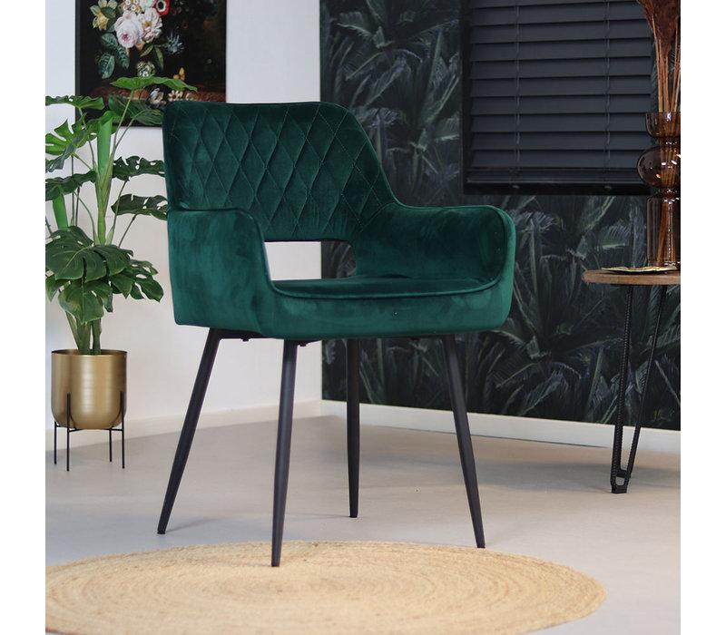 Moderne eetkamerstoel Mika luxury velvet donkergroen