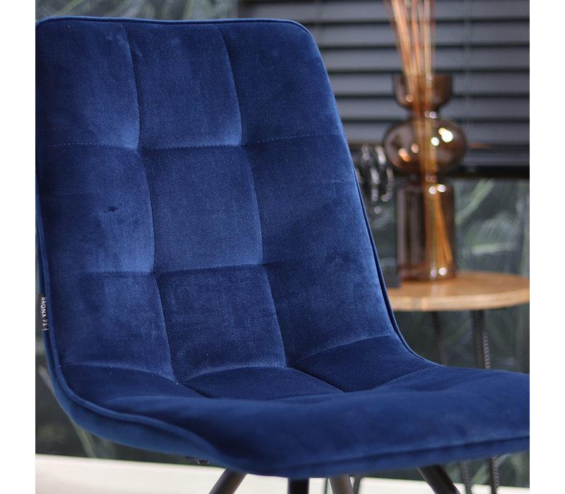 Moderne eetkamerstoel Lisa luxury velvet donkerblauw