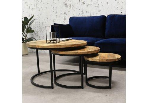 Industriële salontafelset Ivy mangohout 3 stuks