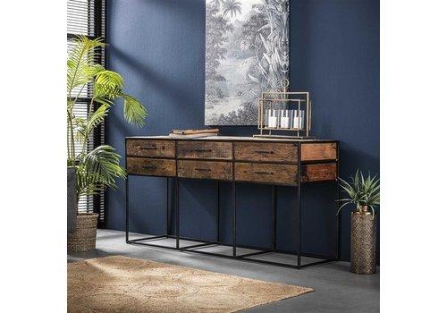 Industriële houten tv-meubel Liam 6 lades