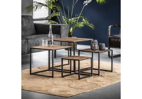 Industriële hard houten salontafelset Liam - set van 4
