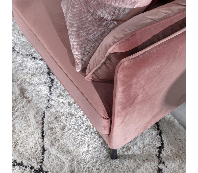 3-zits industriële hoekbank velvet roze Peppin links