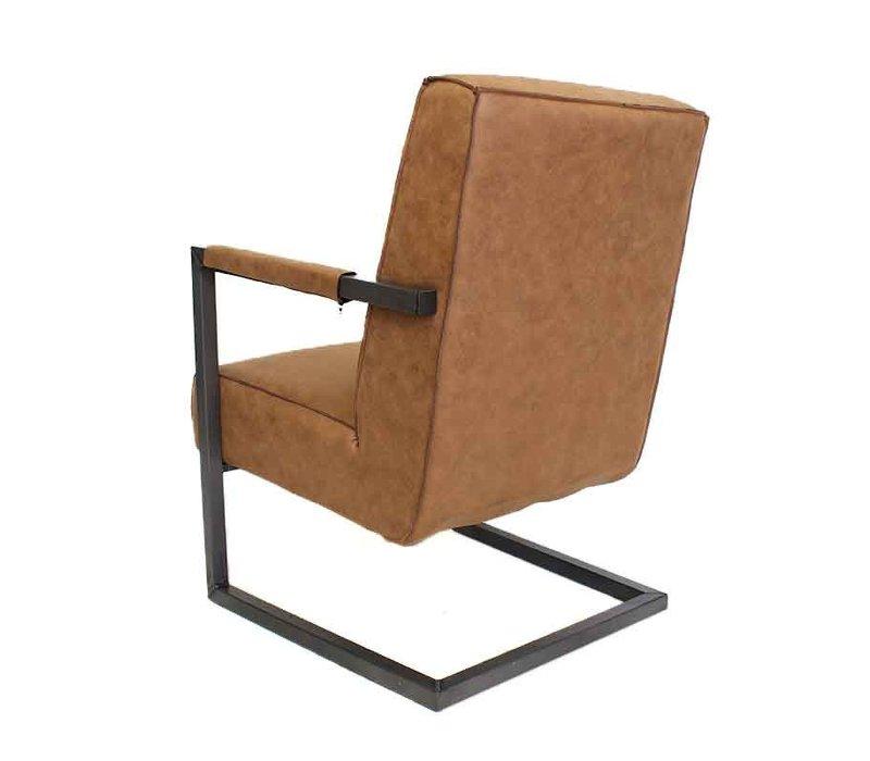 Industriële fauteuil Tiger cognac