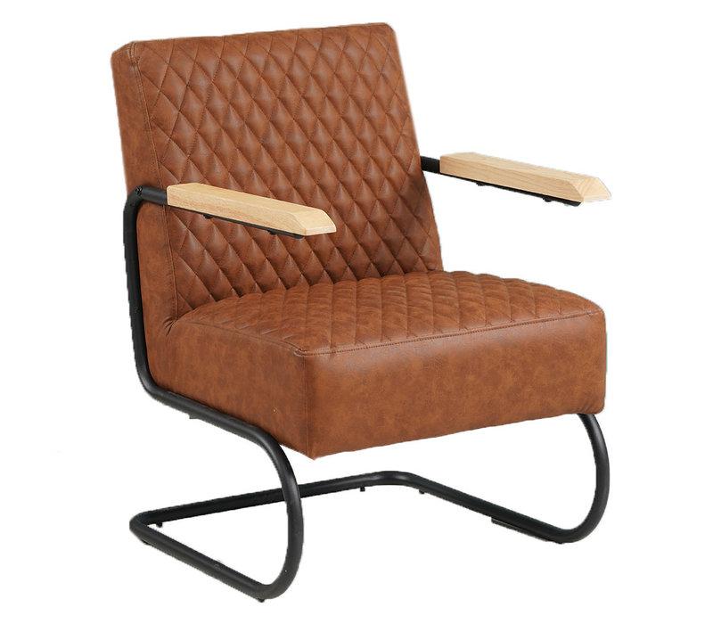 Industriële fauteuil Lars cognac