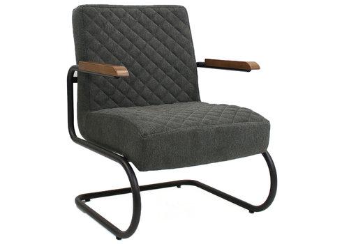 Industriële fauteuil Mustang met arm stof antraciet