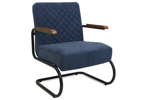 Industriële fauteuil Mustang met arm stof blauw