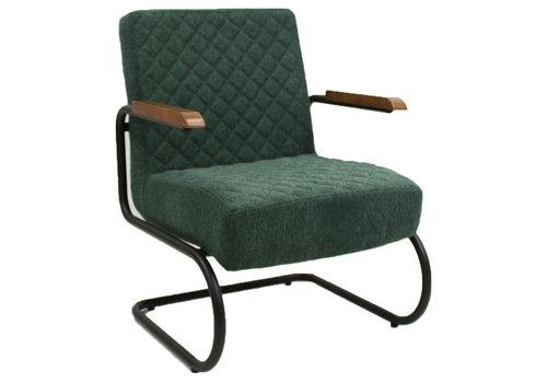 Industriële fauteuil Mustang met arm stof groen