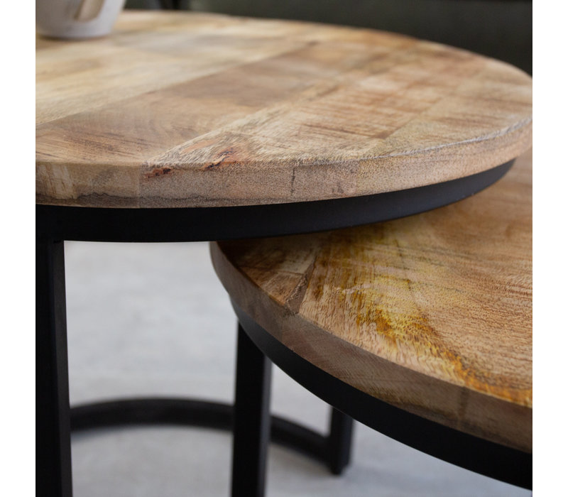 Industriële salontafelset Oxford mangohout