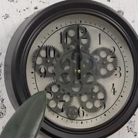 Industriële radar wandklok zwart Fem