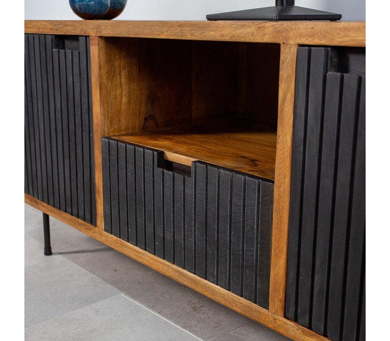 Industrieel tv-meubel Felix 2-deurs zwart mangohout