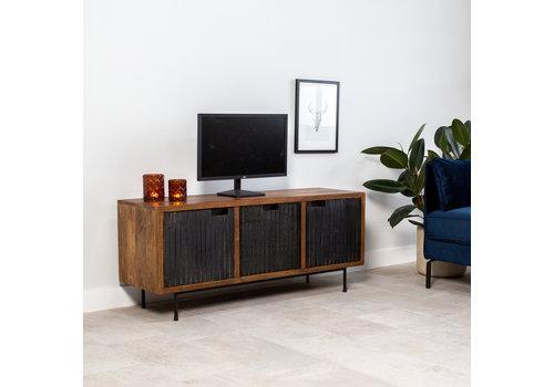 Industrieel TV-meubel Felix 3-deurs zwart mangohout