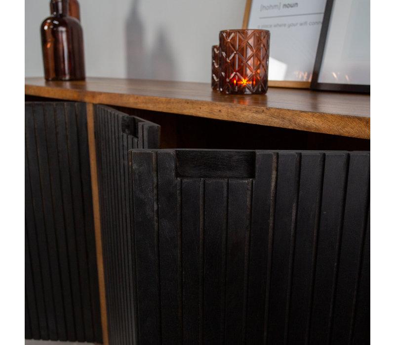 Industriële wandkast Felix zwart mangohout 160 cm