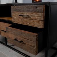 Industrieel TV-meubel Rayan robuust hout