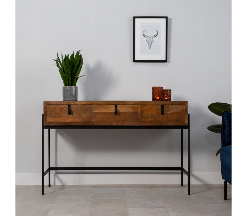 Industriële sidetable Morgan 3 lades mangohout