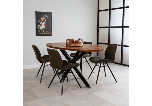 Industriële tafel ovaal Oregon mangohout 240x110 cm