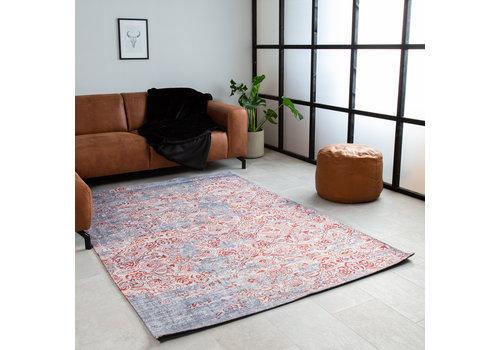 Vloerkleed Grijs Rood Gebloemd Dylan 160x230 cm