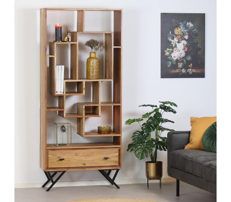 Industriële boekenkast Hunter acaciahout