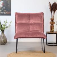Moderne velvet fauteuil Malaga roze