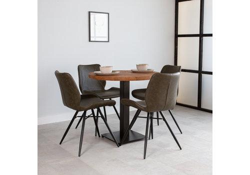 Industriële bistrotafel rond metaal mangohout 90x90 cm