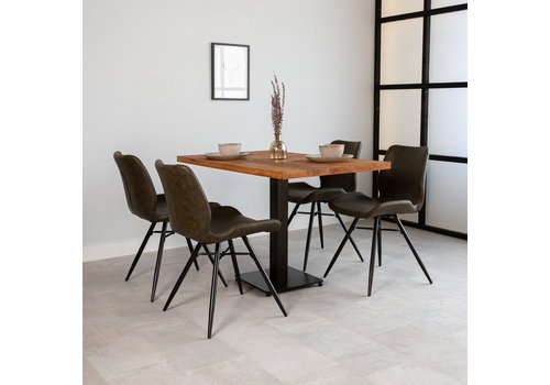 Industriële bistrotafel vierkant  metaal mangohout 120x70 cm