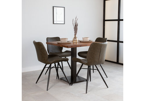 Industriële bistrotafel vierkant  metaal mangohout 80x80 cm