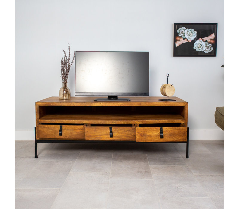 Industrieel TV-meubel Morgan Mangohout 3 lades