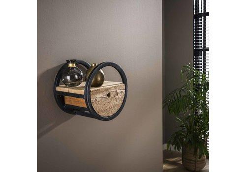 Industrieel rond wandrek hout en metaal Liv 30 cm