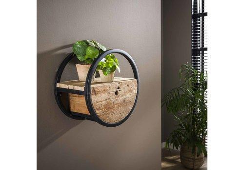 Industrieel rond wandrek hout en metaal Liv 40 cm