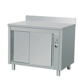 Wärmeschränke, Edelstahl, mit Schiebetüren und Aufkantung , Maße:1200 x 700 x 950 mm