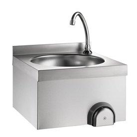 Handwaschbecken mit Kniebedienung ∙ 400 x 400 x 235 mm ∙ Aufkantung: 100 mm ∙ Beckenmaß: Ø 340 mm ∙ Höhe 130 mm ∙  Kalt- und Warmwasseranschluss