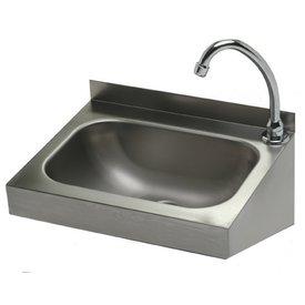 Handwaschbecken mit Kniebedienung ∙ 400 x 320 mm ∙ Becken: 330 x 220 x 110 mm ∙ Wandmontage ∙ Aufkantung 40 mm ∙ nur Kaltwasseranschluss ∙ Kaltwasser Anschluss