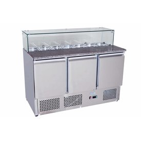 GGG Pizzakühltisch mit Granitplatte  380  Liter, 7x 1/3 GN, 3 Türen