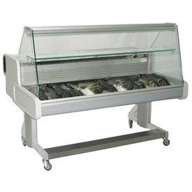 Fahrbare Fischtheke Maße:  2064 x 1114 x 1105 mm
