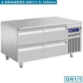 Diamond  Kühlunterbau - 4x 1/2 Schubladen GN 1/1- h 100mm