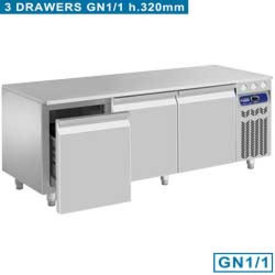 Diamond  Kühlunterbau, 3 Schubladen GN 1/1-h 200 mm