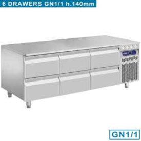 Diamond  Kühlunterbau, 6x 1/2 Schubladen GN 1/1- h 100 mm