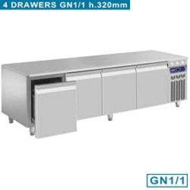 Diamond  Kühlunterbau, 4 Schubladen GN 1/1-h 200 mm
