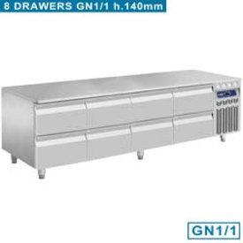 Diamond  Kühlunterbau, 8x 1/2 Schubladen GN 1/1- h 100 mm