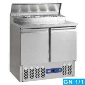 Diamond  Zubereitungskühltisch, 2 Türen GN 1/1, 230 Lit + Kühlaufsatz. 5x GN1/6-150 mm