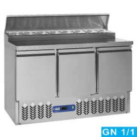Diamond  Zubereitungskühltisch, 3 Türen GN 1/1, 340 Lit + Kühlaufsatz, 8x GN1/6-150 mm