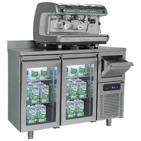 """Kühltisch """" für Barbereich 2 Glastüren +   Kaffeesatzschublade"""
