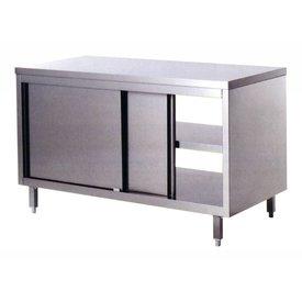 Durchreicheschrank aus Edelstahl,mit doppelwandigen Schiebetüren,Zwischenboden, lärm-und wasserisolierte Arbeitsplatte, 1400  x 600 x 850 mm