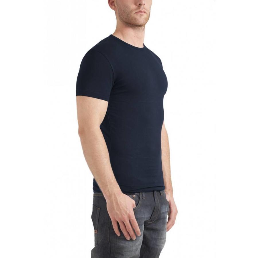 Bodyfit Ronde Hals T-Shirt Navy Heren