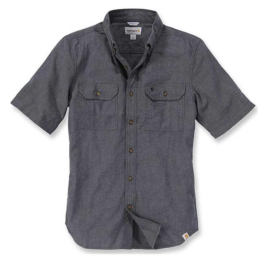 Fort Solid Short Sleeve Black Chambray Shirt Here
